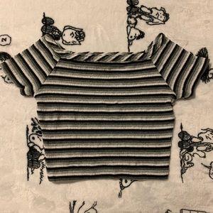 Short Sleeve Striped Crop Top